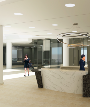 3D Rendering of new concierge desk at Manulife Place